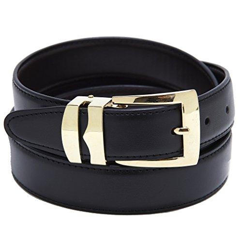 Reversible Belt Bonded Leather Removable Gold-Tone Buckle BLACK / Navy Blue 38