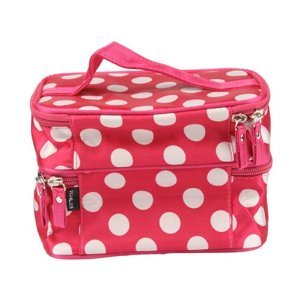 DEDC Double Layer Cosmetic Bag Pink with white Dot Travel Toiletry Cosmetic Makeup Bag Organizer With Mirror from DEDC