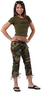 Womens Camouflage Capri Pants Woodland Camo Capris