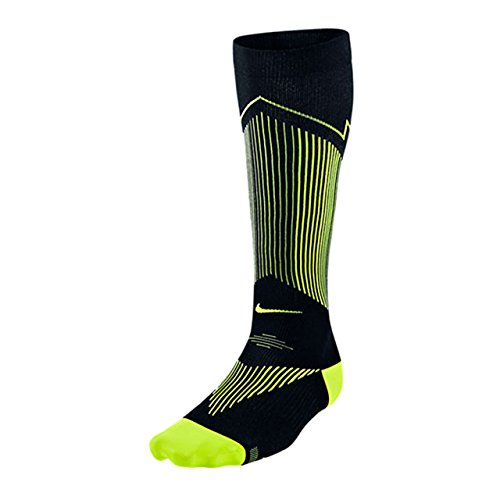 NIKE Elite Graduated Compression OTC Running Socks, Black/Yellow, US11