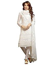 Rudra Fab White Karachi work semi stitched salwar suit dress material