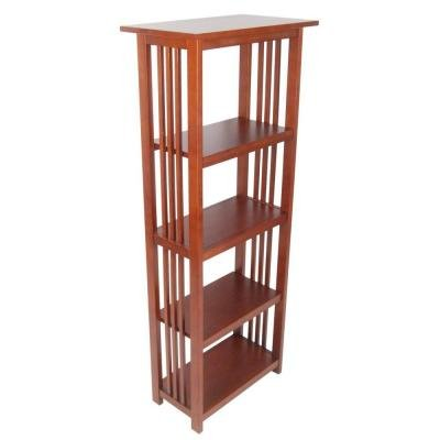 Alaterre Furniture Mission 60 in. 4-Shelf Bookcase in Cherry Collection 60