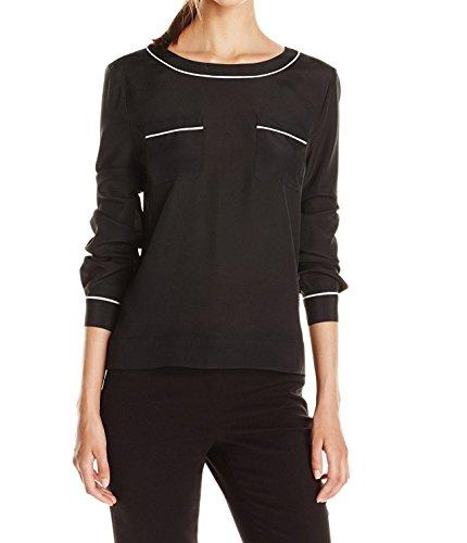 anne-klein-black-contrast-trim-2-pocket-blouse-size-l-approx-16-orig-price-69-in-macys