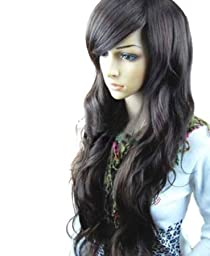 MelodySusie® Dark Brown Curly Wig - High Quality Fascinating Women Long Curly Wig with Free Wig Cap and Wig Comb (Dark Brown)