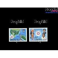 sellos para coleccionistas: Liberia 1013-1014 (completa.edición.) matasellado 1976 200 años independencia