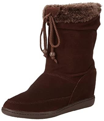 Skechers USA Women's Plus 3-Pyramids Wedge Boot,Chocolate,7.5 M US