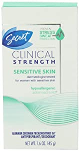 Secret Clinical Strength Sensitive Skin Hypoallergenic Advanced Solid Antiperspirant & Deodorant 1.6 Oz (Pack of 2)