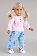 Pinky Pie - Cotton pajama top with flannel caprice and bunny slippers - Doll Clothes for 18 Inch Dolls