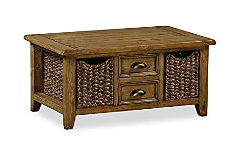 Feock Pine Large Coffee Table With Baskets