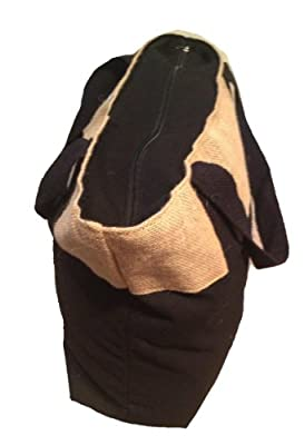 """Eco-friendly Reusable Bag Women Shopping Bag Jute Burlap and Cotton Tote Bag with Zippered closure and over the shoulder cotton handles Color Black Cotton and Natural color Jute Size 20""""W x 15""""H x 6""""gusset - CarryGreen Bags"""