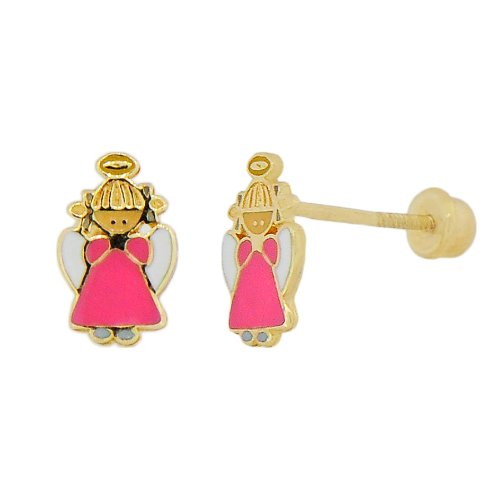 14k Yellow Gold, Colorful Enamel Coated Mini Angel Design Religious Stud Screw Back Earring