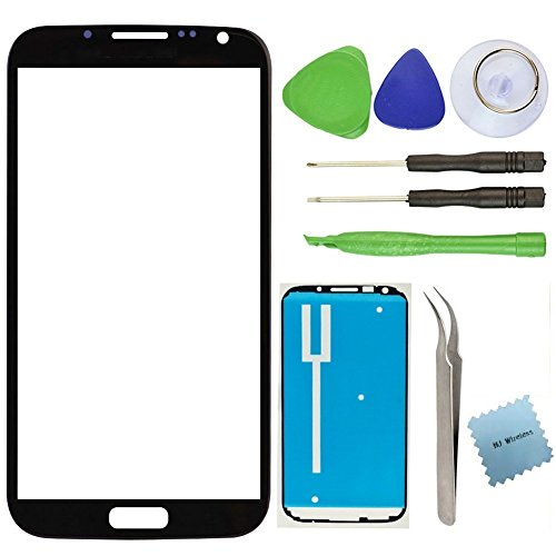 Samsung Note 2 Broken Front Glass Screen Replacement Kit / Adhesive / Lens Repair / Tools (Black) (Kit Repair Samsung Note 2 compare prices)