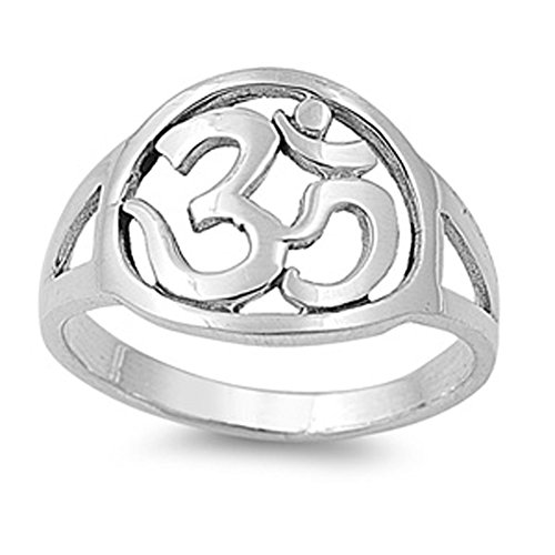 Sterling Silver Woman'S Hinduism Om Aum Sign Ring Cute Comfort Fit 925 Band 13Mm Size 10 Valentines Day Gift