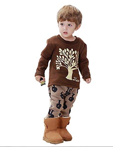 2014 Winter Baby Clothes Toddler Chrismas Comfortable Cotton Suit Bgt-395 (2T - 3T(110Cm), Coffee) front-945629