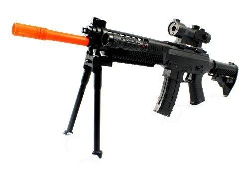 Velocity Airsoft Acs-11 Spring Airsoft Assault Rifle Gun Fps-300 W/ Mock Scope, Folding Bipod, Tactical Flashlight