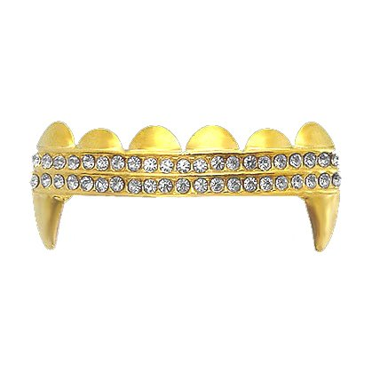 Gold Clear 2 Row Iced Out Top Vampire Fangs Grillz Hip Hop Bling Grillz