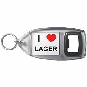 I Love Lager - Botella plástica del anillo dominante del abrelatas