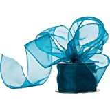 60mm - Teal Organza Ribbon - per metre