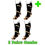HealthyNees 2 Pairs Combo Copper Infused Compression Socks Helps Reduce Swelling Pain Traveling Anti-Fatigue Feet Support (S/M)