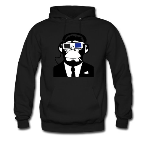 Spreadshirt, Urban Electro 3D Designs: Ape 3D Monkey Affe Electro Club Headphones Kopfhörer Motiv, Men's Hoodie, black, XXL