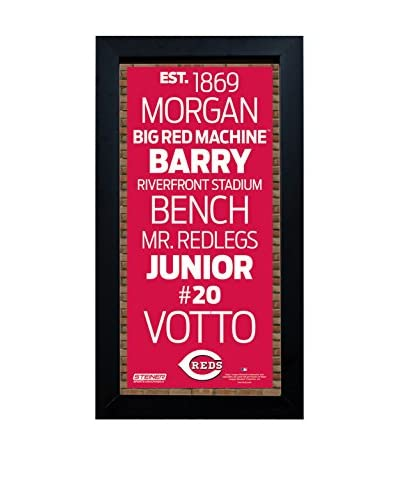 Steiner Sports Memorabilia Framed Cincinnati Reds Desktop/Wall Hangable Subway Sign Wall Art
