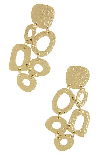 Karmas Canvas Etched Top Pebble Shape Link Earrings (Matted Gold)