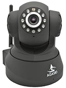 Agasio A502W Wireless IP Camera with IR-Cut Off Filter 3.6mm lens 90Degree Viewing Angle, Black