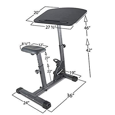 Titan Fitness Cycling Adjustable Standing Desk Sit Stand Up Black Top Exerciser