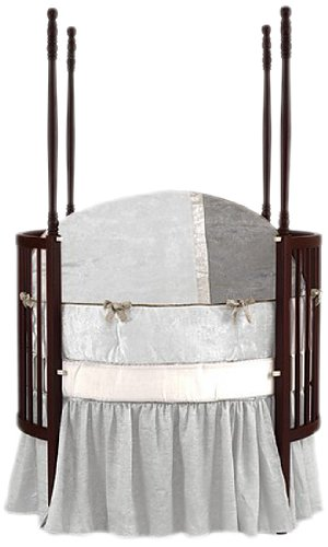 Baby Doll Round Crib Bedding Set, White, 4 Piece