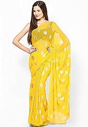 Prateek Retail Ethnic Yellow traditional print Chiffon saree