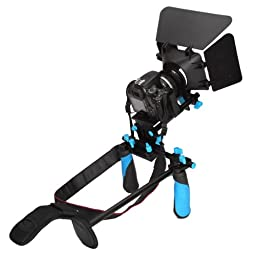 Koolertron DSLR Shoulder Mount Rig+Hand Grip Handle+Matte Box Sunshade +Adjust Platform 15mm Rod Rail Video Movie Kit Combination For DSLR DV HDV HD Camcorder DSLR Canon 550D 500D 600D 1100D 60D 50D 40D 5D 5DII 5DIII Nikon D300 D5100 D3100 D3000 D5000 D90