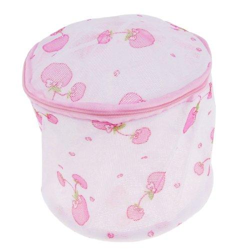Laundry White Pink Gauze Underwear Bra Washing Bag Zip Up Holder front-163853
