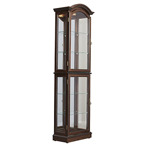 Curio Cabinet Floor Standing Lighted Glass Sides and Shelves (Shot Glass Display Case 72 compare prices)