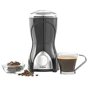 VonShef Whole Coffee Bean, Nuts & Spices Grinder - Stainless Steel Blades. 150 Watts