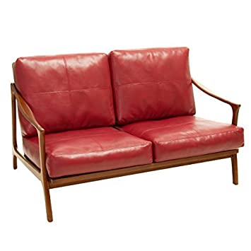 Coolidge Red Leather Wood Frame Loveseat