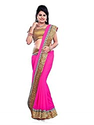 Morpankh enterprise Pink Georgette Saree ( 101 look pink )
