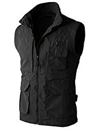 H2H Mens Work Utility Hunting Travels Sports Vest With Multiple Pockets BLACK US S/Asia M (KMOV081)