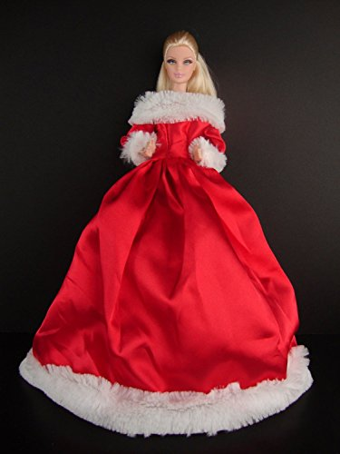 The Official 2012 Holiday Gown Traditonal Red Satin and White Fur Trim Stunning Made to Fit the Barbie Doll - 1