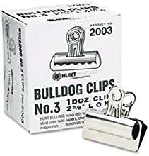 Bulldog Clips Steel 78quot Capacity 2-58quotw Nickel-Plated 12 per Box