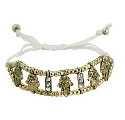 White String Golden Bracelet with Hamsa and Evil Eye Charms and Crystals - Good Luck Bracelet