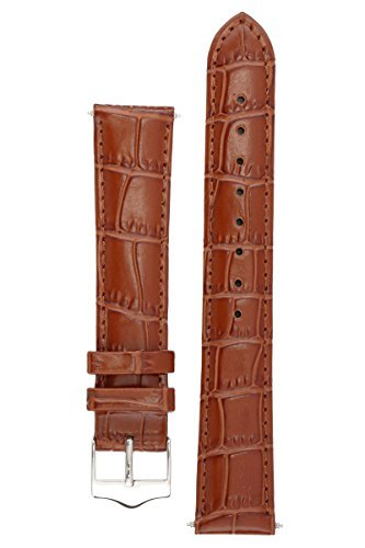 Signature Tropico in brown 20 mm extra-long watch band. Replacement watch strap. Genuine leather. Silver Buckle (12mm Extra Long Watch Strap compare prices)