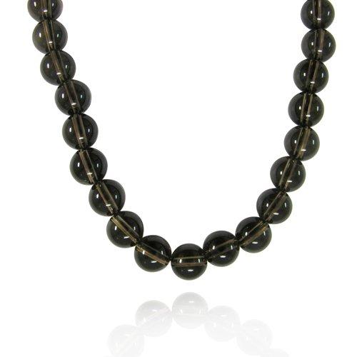 10mm Plain Round Smoky-Quartz Bead Necklace, 18+2