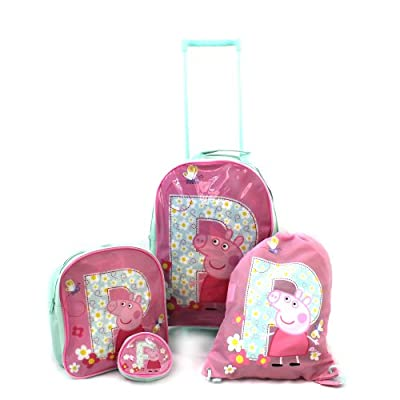 Peppa Pig Luggage Set / Wheeled Bag - Trolley Bag, Rucksack, Purse, Trainer Bag - P is for Peppa from Trademark Collections