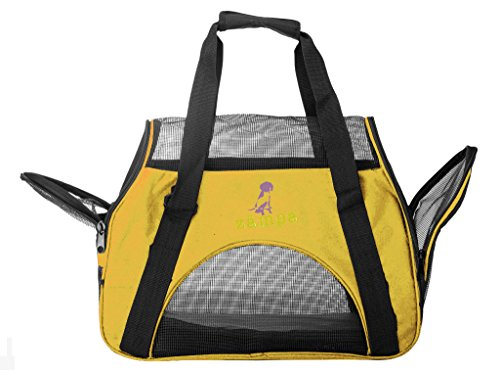 ZAMPA Soft-Sided Kennel, For Small Size Puppies & Cat's Carrier. With 2 Openings + Shoulder Strap Great For Travel. Foldable & Space-Free – Yellow