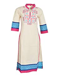 Global Women's Cotton Straight Kurta (GW07OWPinkS, Off White, S)
