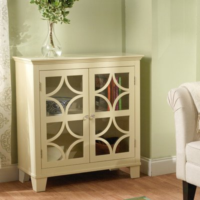 Target Marketing Systems Sydney Accent Storage Cabinet with Trellis Overlay Glass Doors and 2 Shelves, Ivory (Linen Cabinet Glass compare prices)