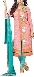 Angel Fashion Studio Women's Chanderi Unstitched Dress Material (Pink)