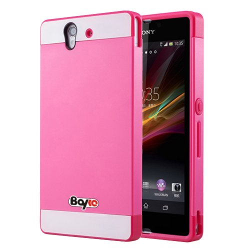 $$  Bayke Brand / Sony Xperia L S36h Hybrid TPU 2PC Layered Hard Case Rubber Bumper Armor Case with Inner Shell (Hot Pink)