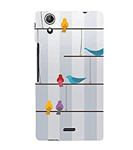 PrintVisa Colorful Birds Design 3D Hard Polycarbonate Designer Back Case Cover for Micromax Canvas Selfie Lens Q345