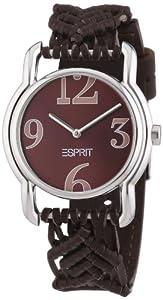 Esprit Damen-Armbanduhr Macra Brown Analog Quarz Leder ES000AI2004